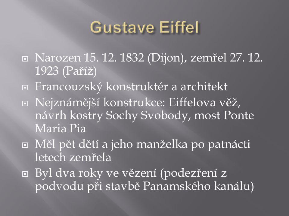 Gustave Eiffel Narozen 15. 12. 1832 (Dijon), zemřel 27. 12. 1923 (Paříž) Francouzský konstruktér a architekt.