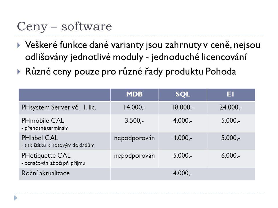 Ceny – software Veškeré funkce dané varianty jsou zahrnuty v ceně, nejsou odlišovány jednotlivé moduly - jednoduché licencování.