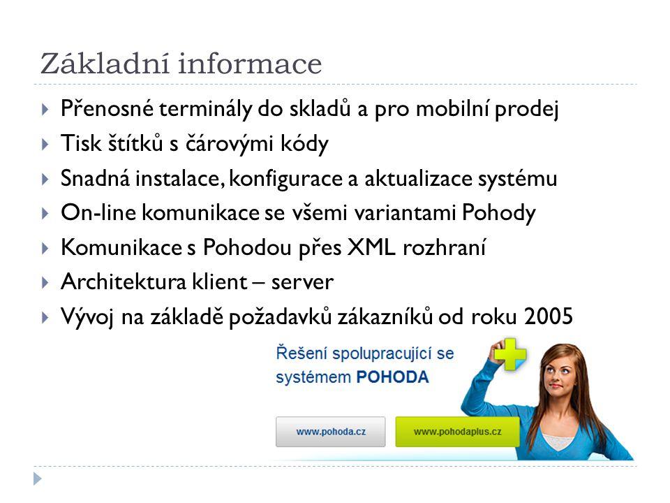 Základní informace Přenosné terminály do skladů a pro mobilní prodej