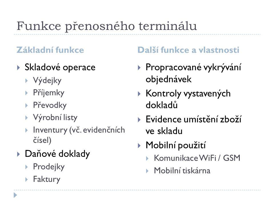 Funkce přenosného terminálu