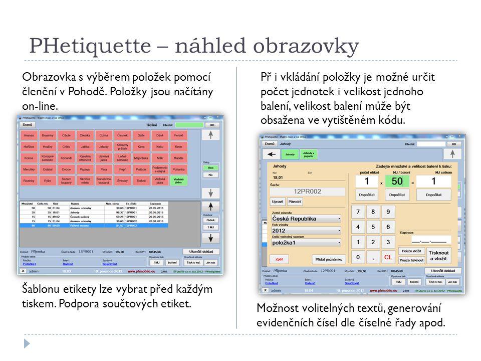 PHetiquette – náhled obrazovky