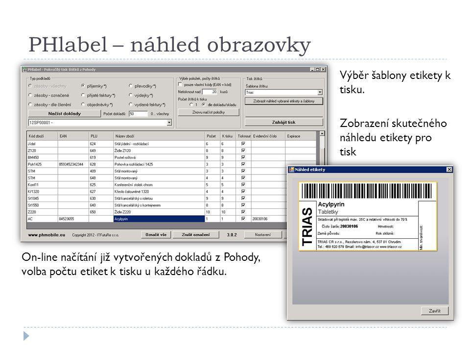PHlabel – náhled obrazovky