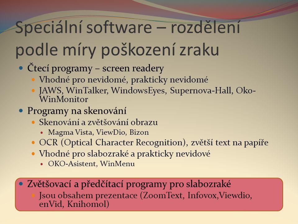 Speciální software – rozdělení podle míry poškození zraku