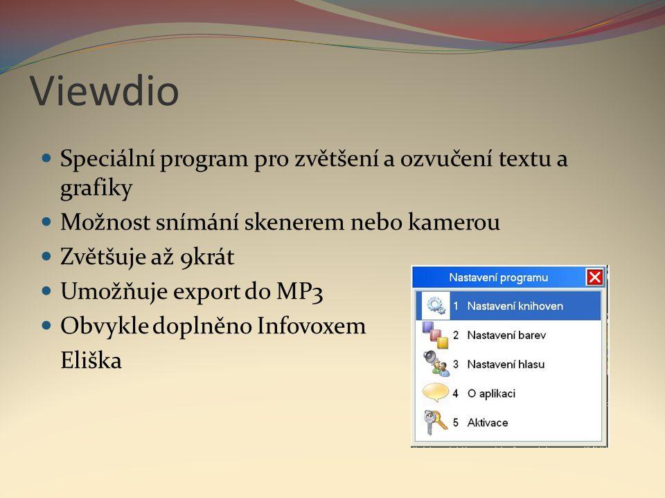 Viewdio Speciální program pro zvětšení a ozvučení textu a grafiky