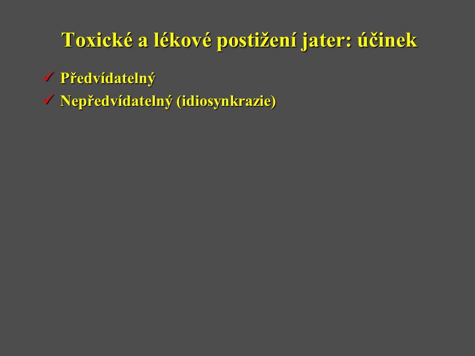 Toxické a lékové postižení jater: účinek