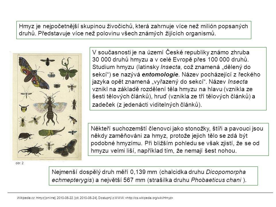 Hmyz je nejpočetnější skupinou živočichů, která zahrnuje více než milión popsaných druhů. Představuje více než polovinu všech známých žijících organismů.