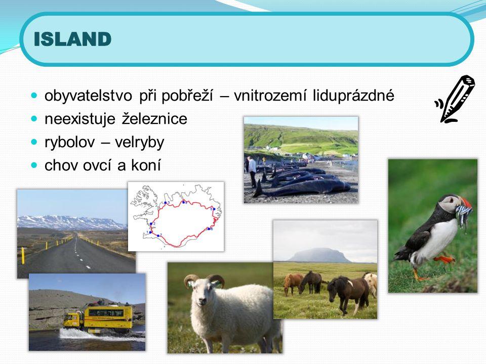 ISLAND obyvatelstvo při pobřeží – vnitrozemí liduprázdné