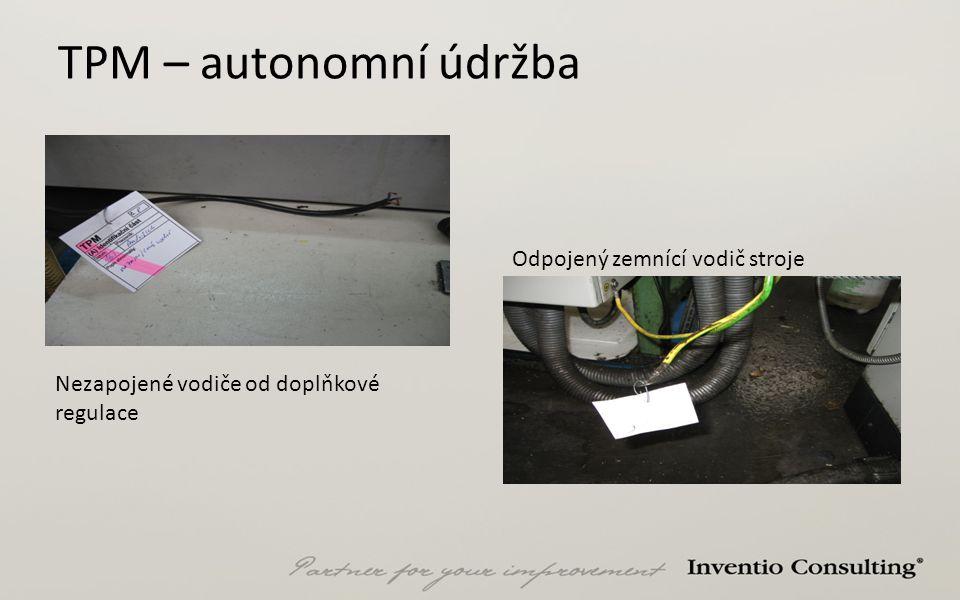 TPM – autonomní údržba Odpojený zemnící vodič stroje