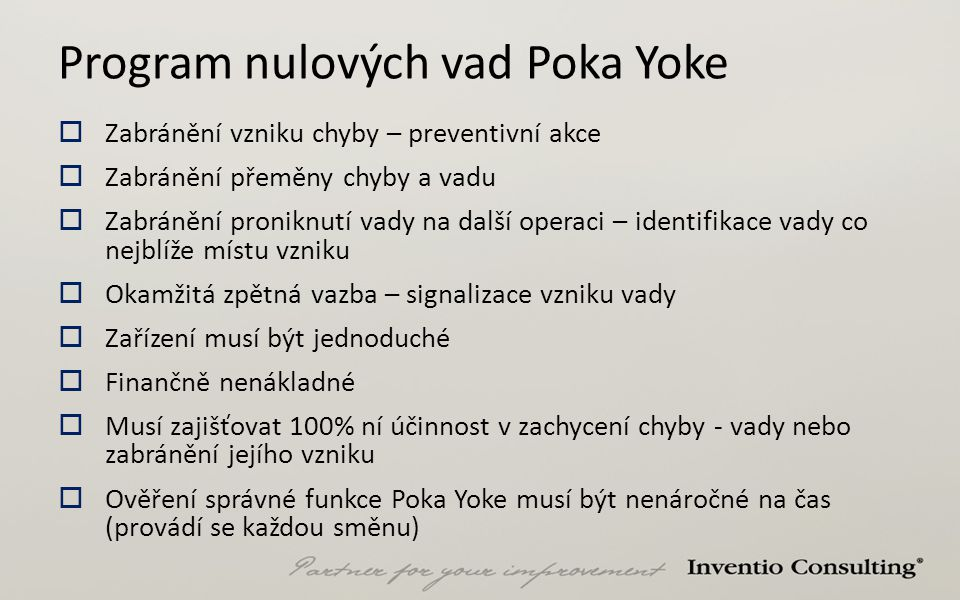 Program nulových vad Poka Yoke