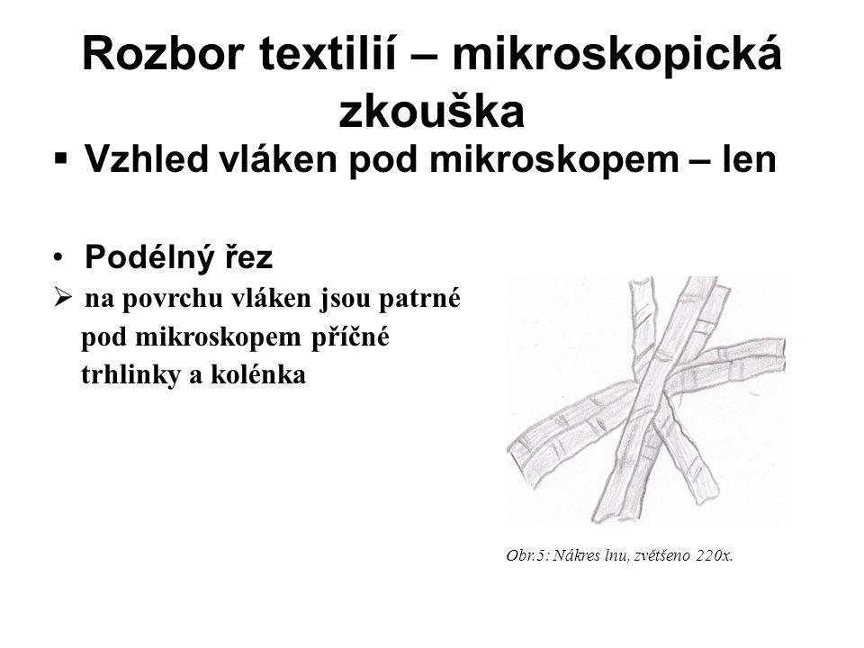 Rozbor textilií – mikroskopická zkouška