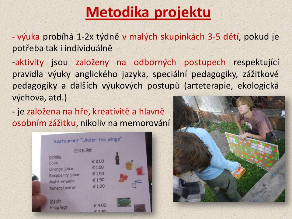 Metodika projektu výuka probíhá 1-2x týdně v malých skupinkách 3-5 dětí, pokud je potřeba tak i individuálně.