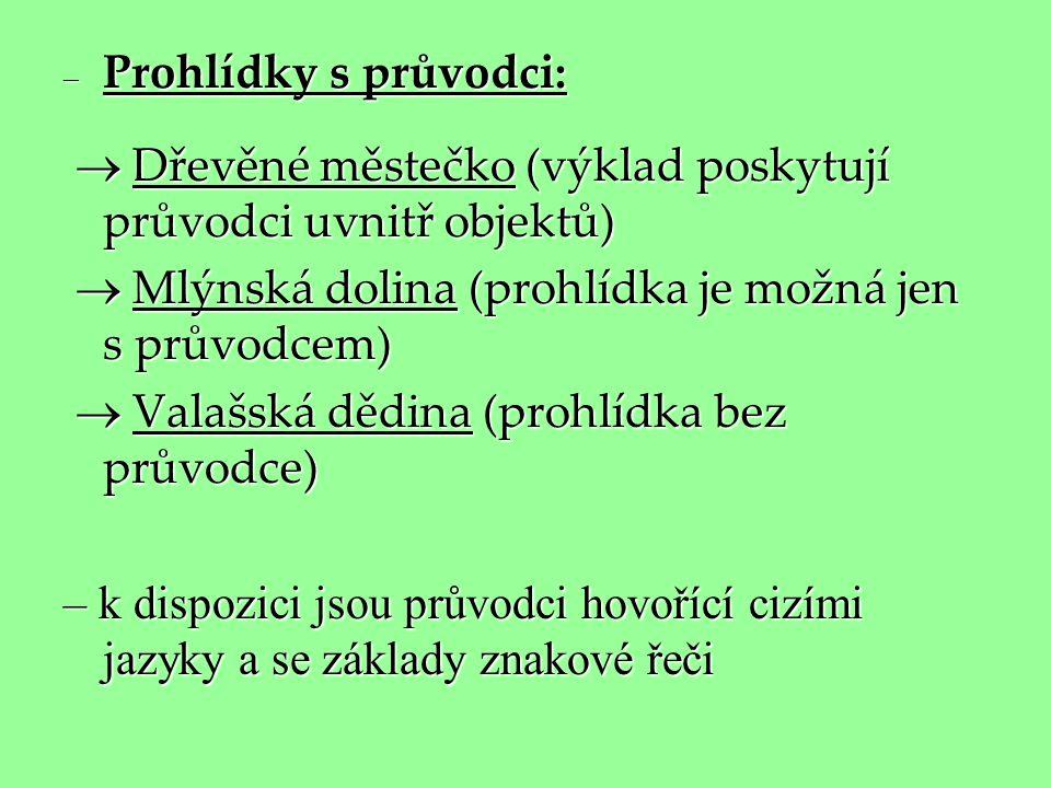 Prohlídky s průvodci:  Dřevěné městečko (výklad poskytují průvodci uvnitř objektů)  Mlýnská dolina (prohlídka je možná jen s průvodcem)