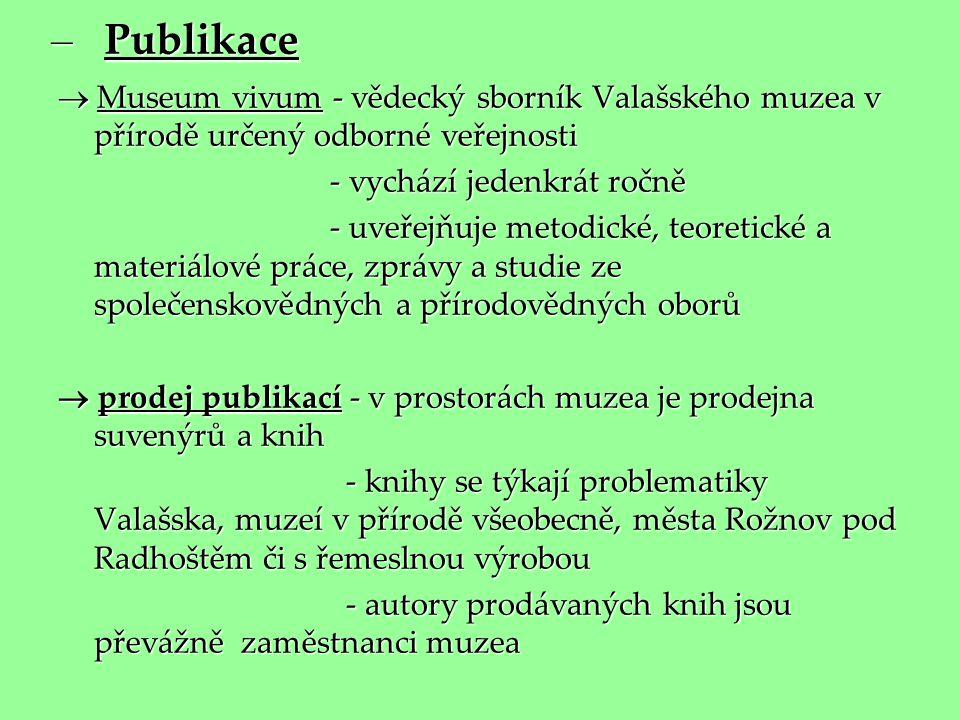 Publikace  Museum vivum - vědecký sborník Valašského muzea v přírodě určený odborné veřejnosti. - vychází jedenkrát ročně.