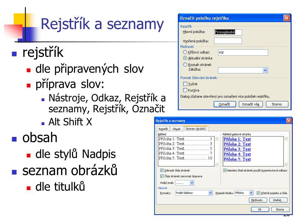 Rejstřík a seznamy rejstřík obsah seznam obrázků dle připravených slov