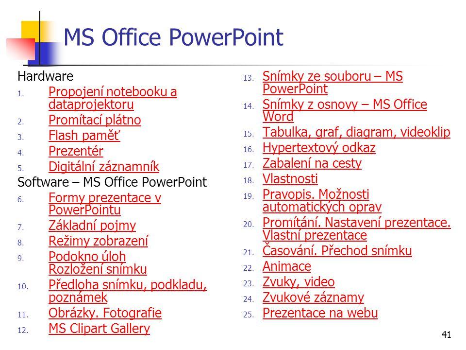 MS Office PowerPoint Hardware Propojení notebooku a dataprojektoru