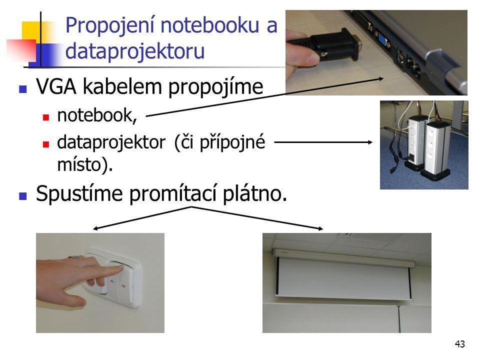 Propojení notebooku a dataprojektoru