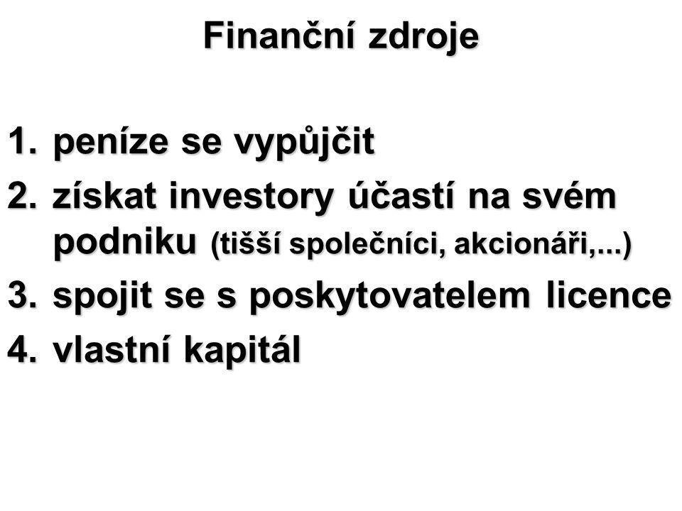 Finanční zdroje peníze se vypůjčit. získat investory účastí na svém podniku (tišší společníci, akcionáři,...)