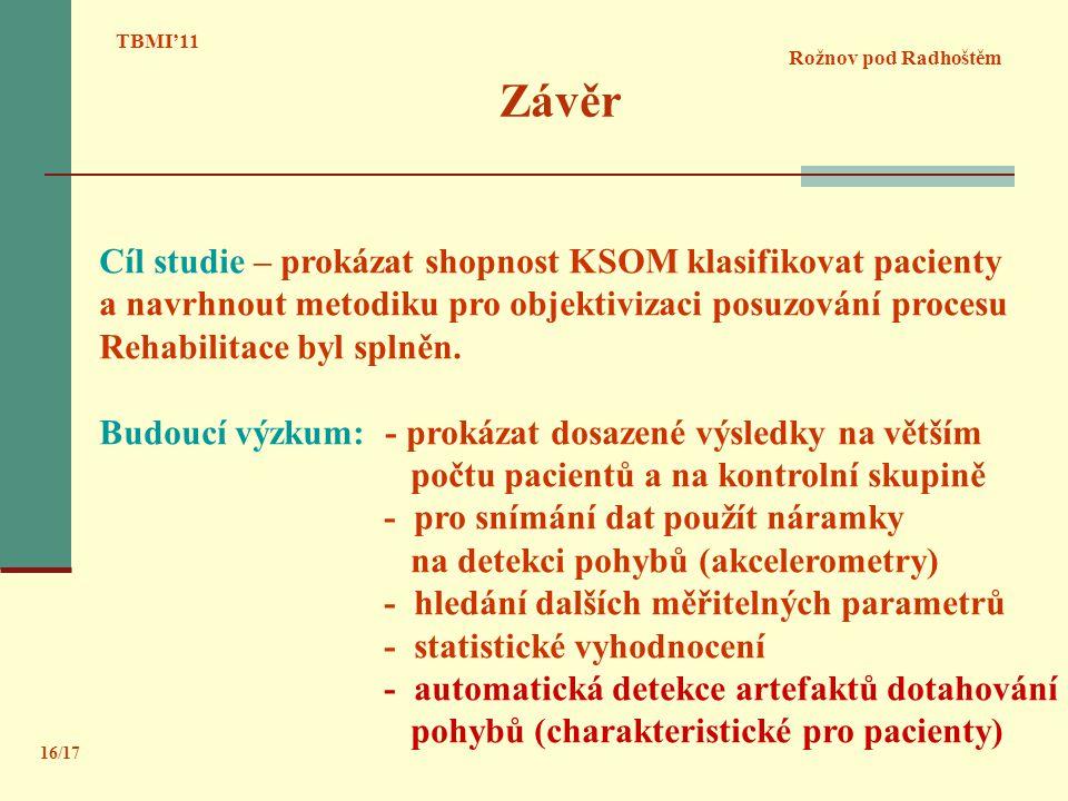 Závěr Cíl studie – prokázat shopnost KSOM klasifikovat pacienty