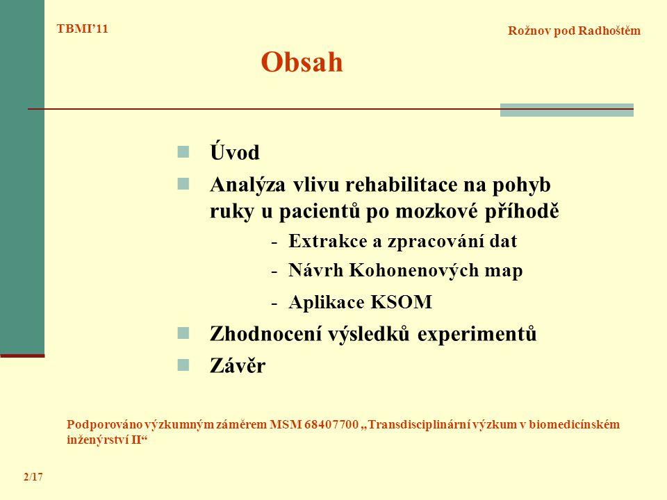 TBMI'11 Obsah. Rožnov pod Radhoštěm. Úvod. Analýza vlivu rehabilitace na pohyb ruky u pacientů po mozkové příhodě.