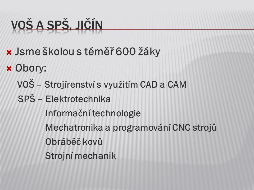 VOŠ a SPŠ, Jičín Jsme školou s téměř 600 žáky Obory: