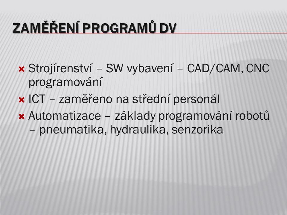 Zaměření programů DV Strojírenství – SW vybavení – CAD/CAM, CNC programování. ICT – zaměřeno na střední personál.