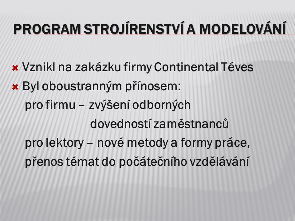 Program Strojírenství a modelování