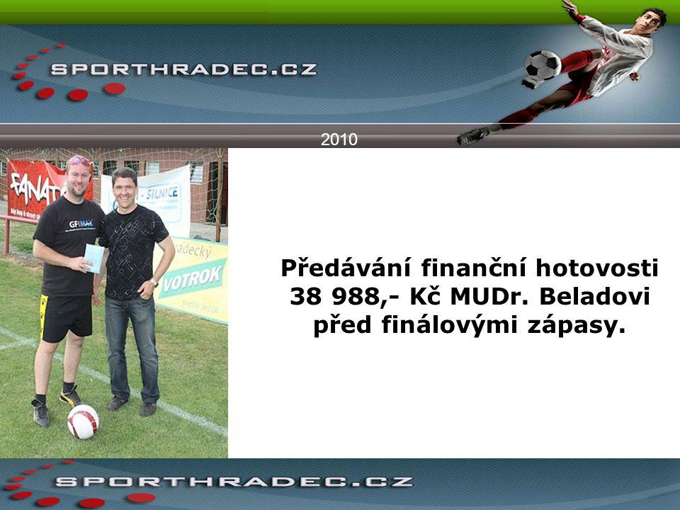 2010 Předávání finanční hotovosti 38 988,- Kč MUDr. Beladovi před finálovými zápasy.