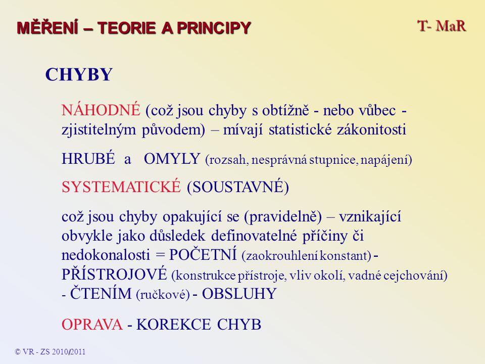 CHYBY T- MaR MĚŘENÍ – TEORIE A PRINCIPY