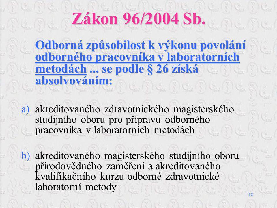 Zákon 96/2004 Sb. Odborná způsobilost k výkonu povolání odborného pracovníka v laboratorních metodách ... se podle § 26 získá absolvováním: