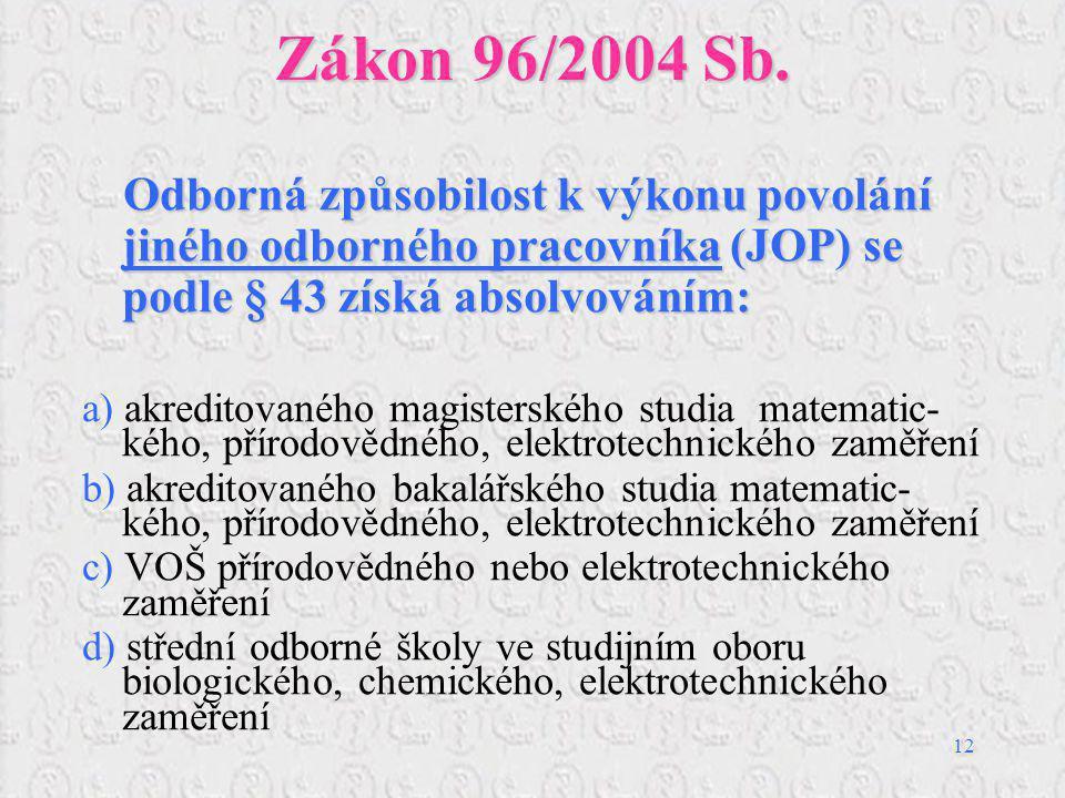 Zákon 96/2004 Sb. Odborná způsobilost k výkonu povolání jiného odborného pracovníka (JOP) se podle § 43 získá absolvováním: