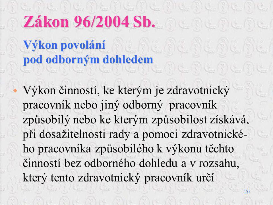 Zákon 96/2004 Sb. Výkon povolání pod odborným dohledem