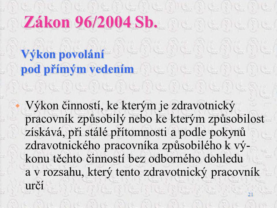 Zákon 96/2004 Sb. Výkon povolání pod přímým vedením