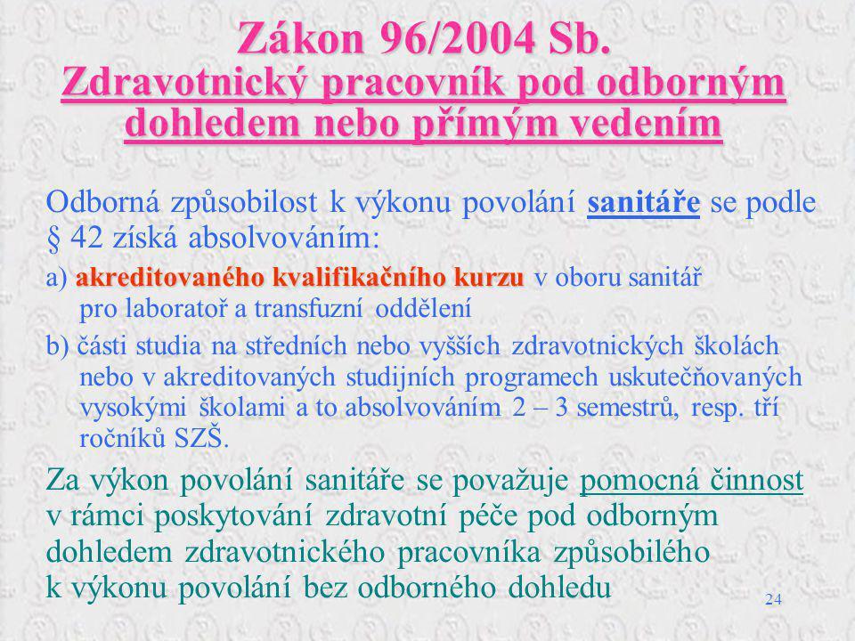 Zákon 96/2004 Sb. Zdravotnický pracovník pod odborným dohledem nebo přímým vedením