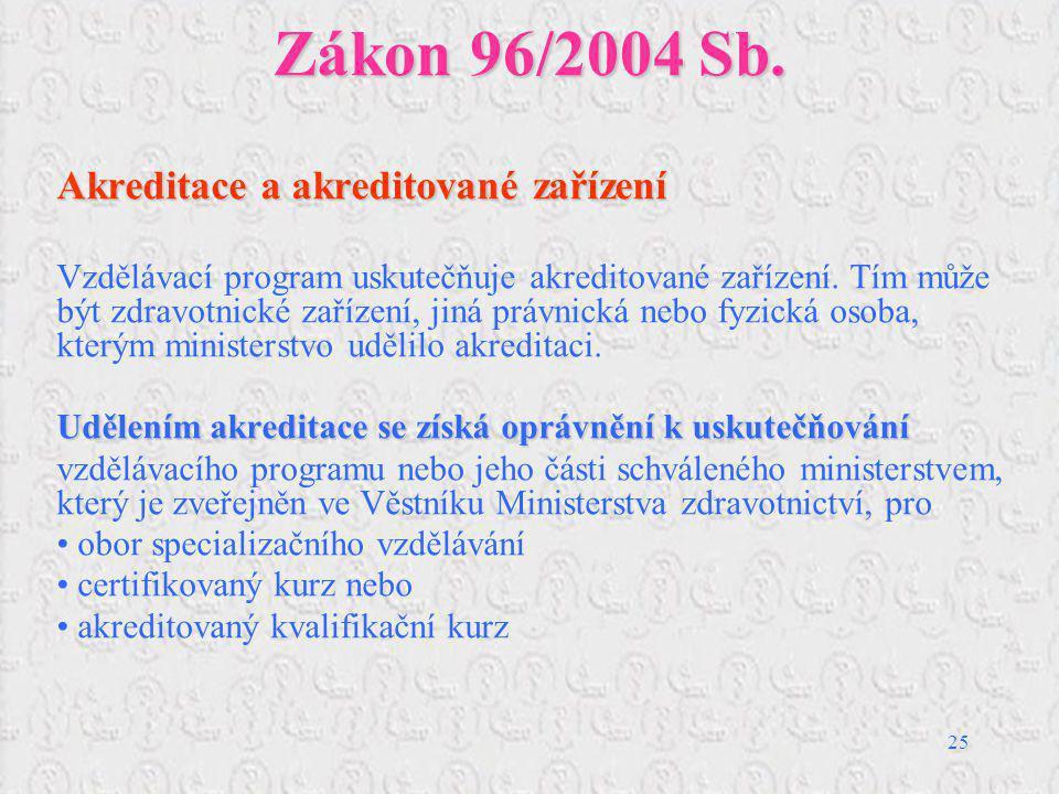 Zákon 96/2004 Sb. Akreditace a akreditované zařízení