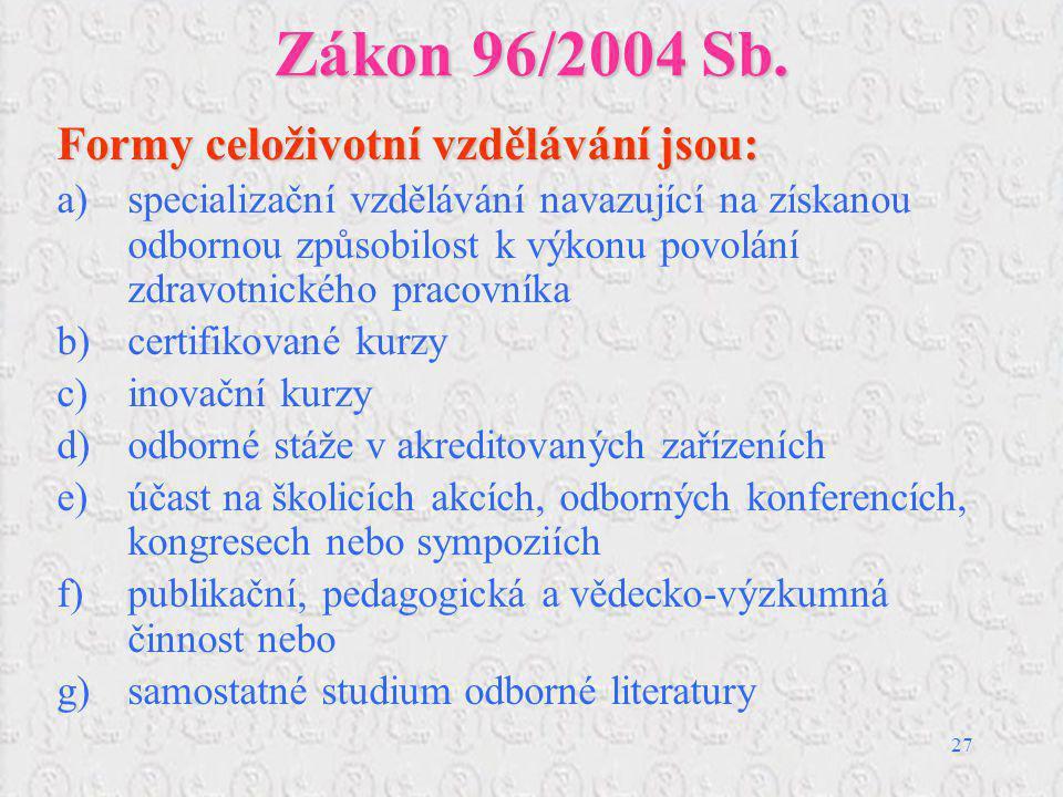 Zákon 96/2004 Sb. Formy celoživotní vzdělávání jsou: