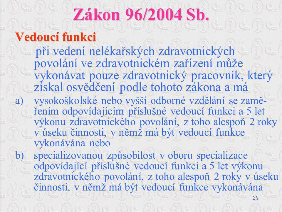 Zákon 96/2004 Sb. Vedoucí funkci