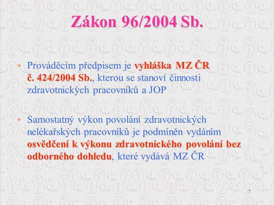 Zákon 96/2004 Sb. Prováděcím předpisem je vyhláška MZ ČR č. 424/2004 Sb., kterou se stanoví činnosti zdravotnických pracovníků a JOP.