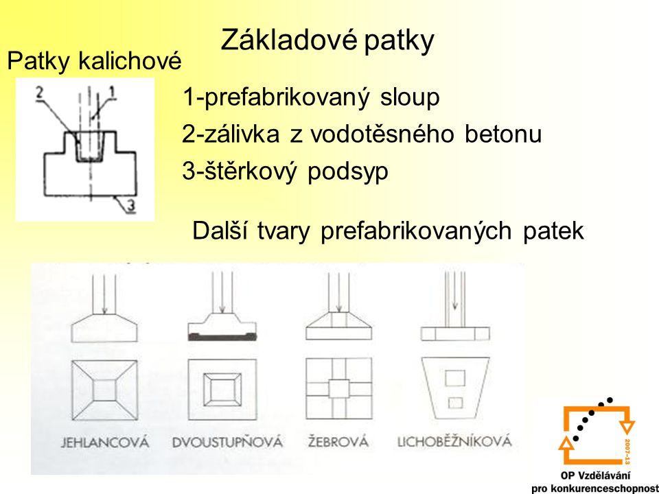 Základové patky Patky kalichové 1-prefabrikovaný sloup