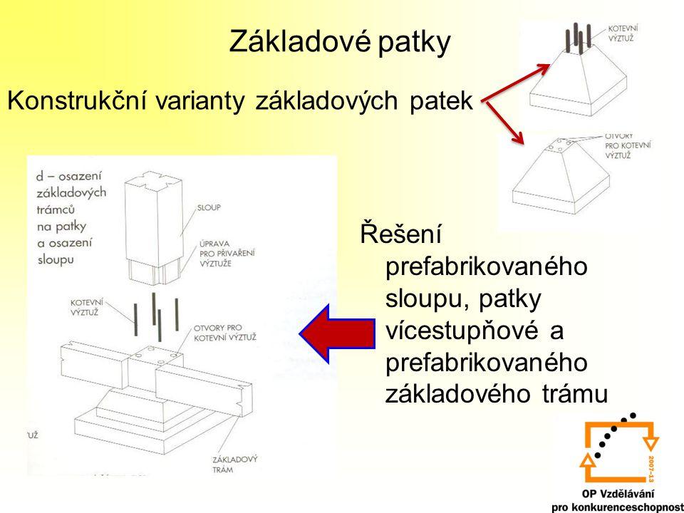 Základové patky Konstrukční varianty základových patek
