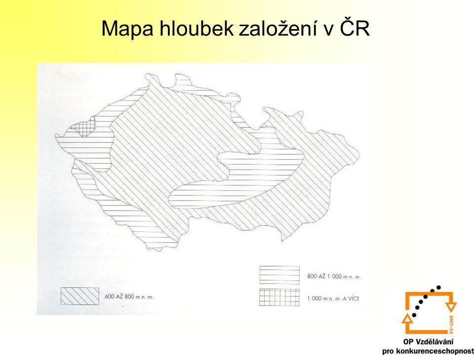 Mapa hloubek založení v ČR