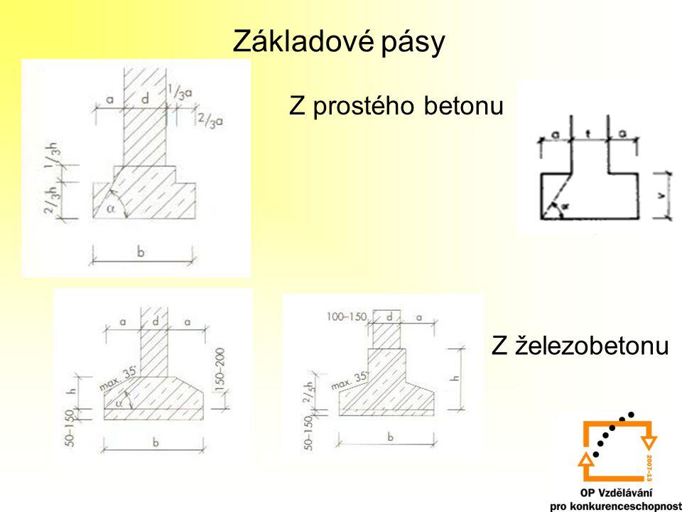 Základové pásy Z prostého betonu Z železobetonu