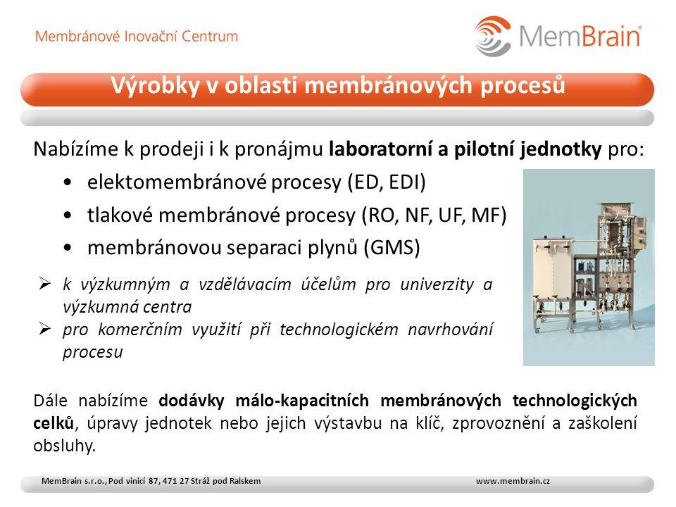 Výrobky v oblasti membránových procesů