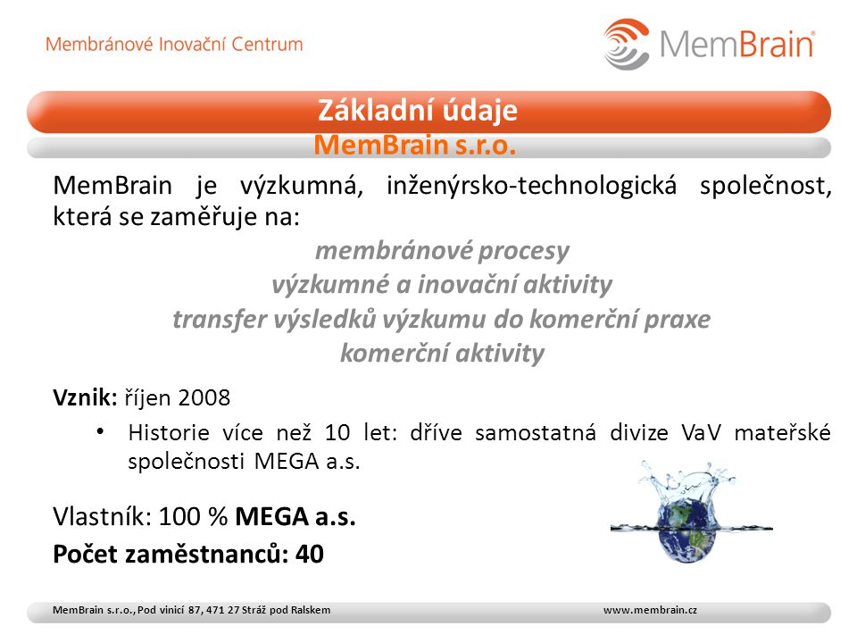 Základní údaje MemBrain s.r.o.