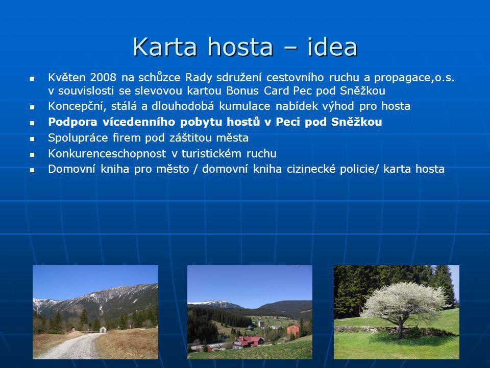 Karta hosta – idea Květen 2008 na schůzce Rady sdružení cestovního ruchu a propagace,o.s. v souvislosti se slevovou kartou Bonus Card Pec pod Sněžkou.