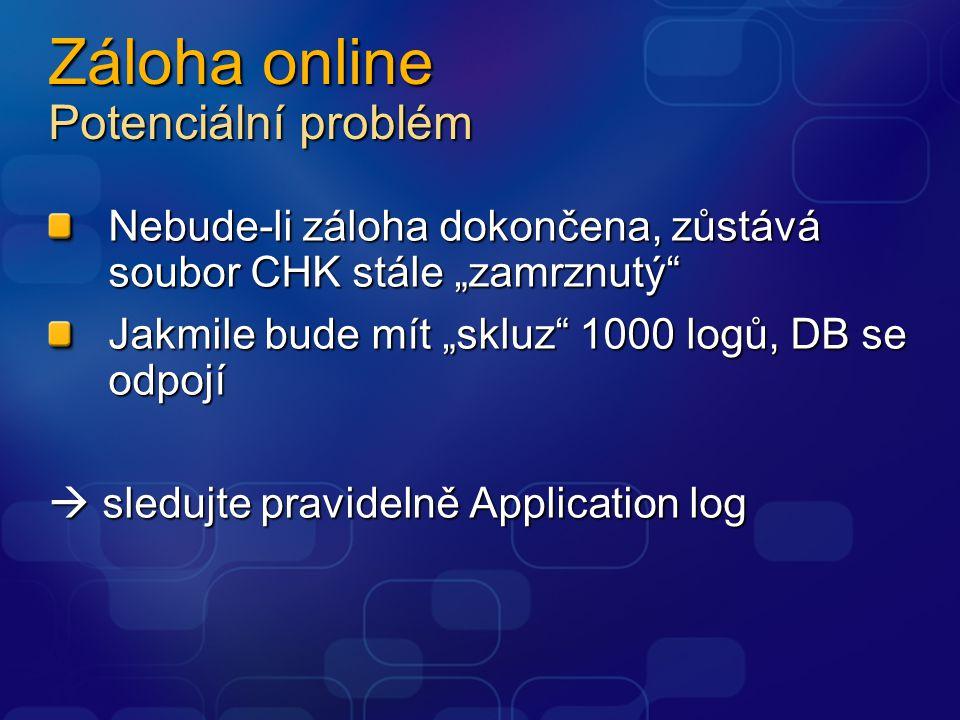 Záloha online Potenciální problém