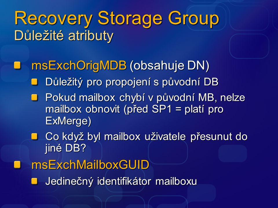 Recovery Storage Group Důležité atributy