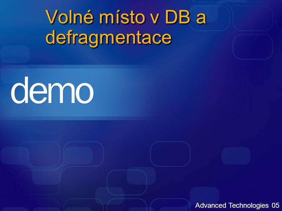 Volné místo v DB a defragmentace