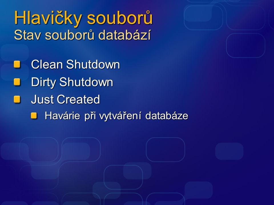Hlavičky souborů Stav souborů databází