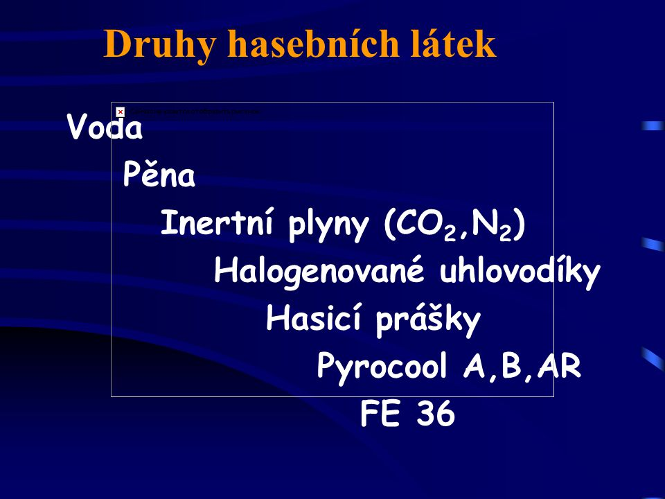 Druhy hasebních látek Voda Pěna Inertní plyny (CO2,N2)