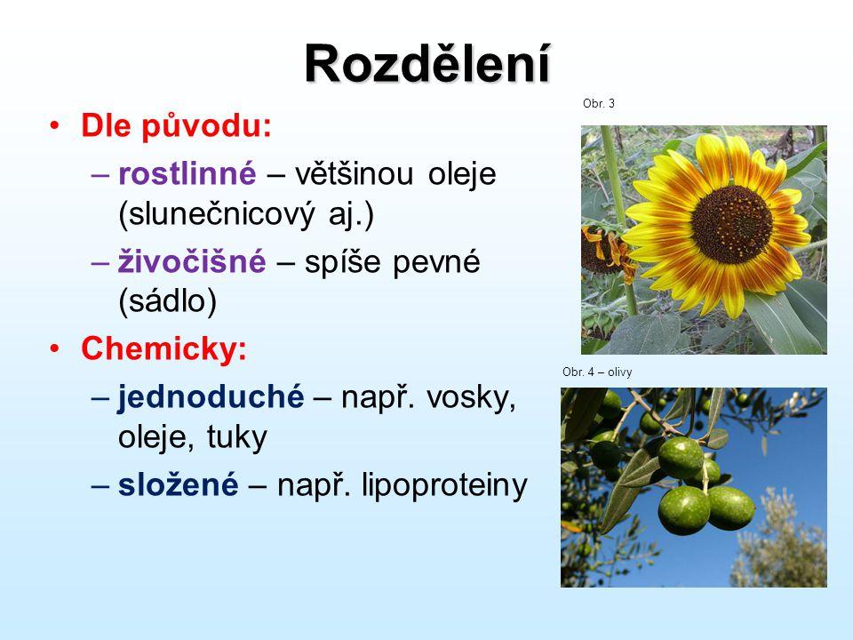 Rozdělení Dle původu: rostlinné – většinou oleje (slunečnicový aj.)